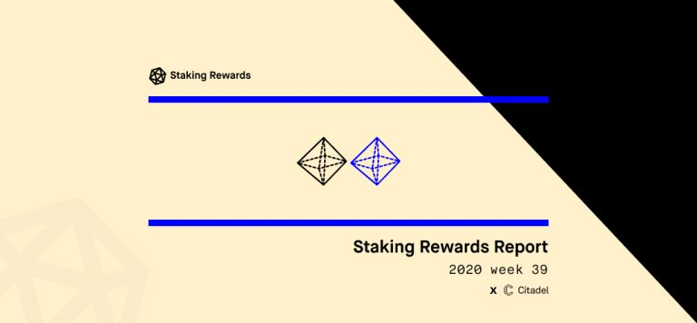 Staking Rewards Report | 2020 week 39